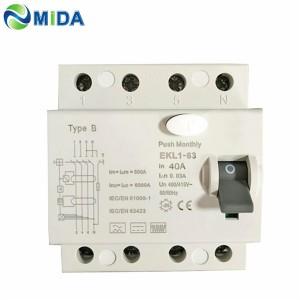 EKL1-63 RCCB 40A 63A 4 Pole 30mA Type B RCD 10KA Residual Current Circuit Breaker