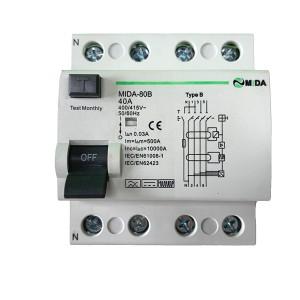EKL1-63 40A 63A 80A 30mA 100mA 10KA 2Pole 4Pole RCD B Type RCCB