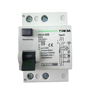 RCCB Type B RCD 2P 4Pole 10KA 30mA 40A 63A 230V 400V Circuit Breaker