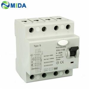 EKL1-63 Class B 30mA 40A 63A 10KA 4Pole RCD B Type RCCB Circuit Breaker